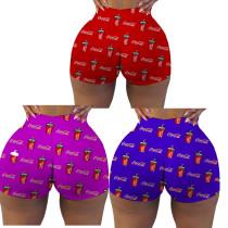 Sexy ladies tight shorts pattern printed shorts yoga pants R3090