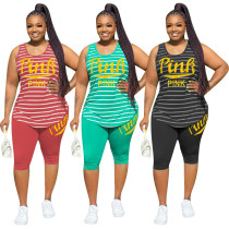 Casual Plus Size Striped Printed Round Neck Vest And Shorts Two Pieces Sets H1376