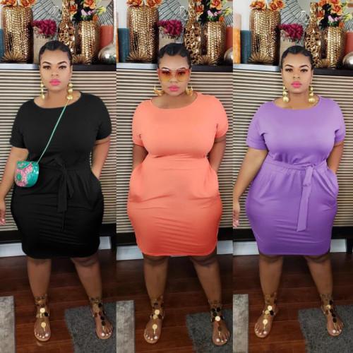 Women's round neck, plastic waist, pocket strap casual dress K3019