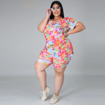 Casual Printed V-Neck Short Sleeves T-Shirt With Shorts Plus Size Two Piece Set YF1215