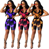 Fashion women's zipper body sleeveless hip cover jumpsuit TH3429