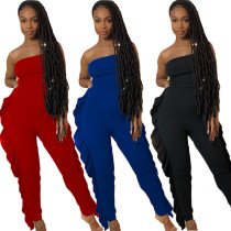 Women's plus size solid color ruffled sexy jumpsuit YY5200