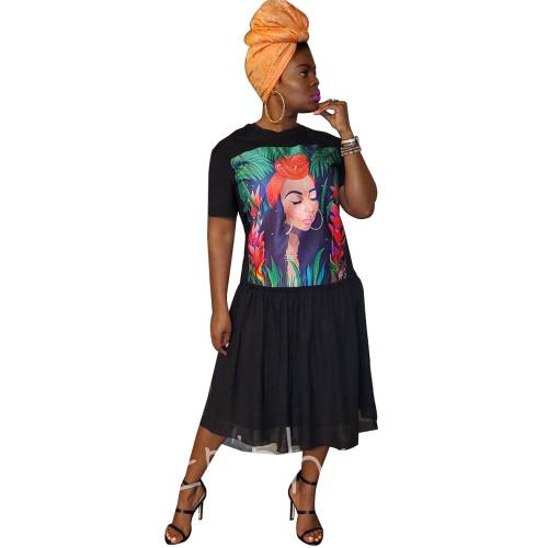 Fashion Cartoon Printed Short Sleeves Plus Size Midi Dress YF8569
