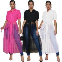 Fashion Solid Color Mesh Stitching Short Sleeves Long Shirt Dress L0317