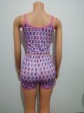 Sexy Dollar Print Sling Tops Shorts Set Home Pajamas FF1022