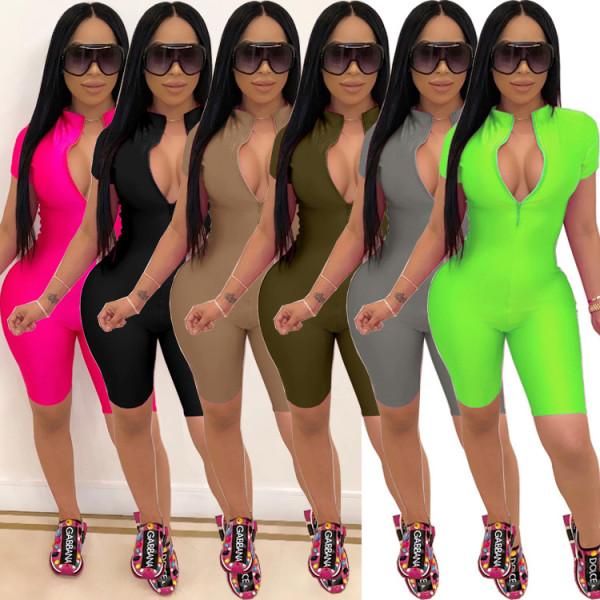 Sexy Zipper V-Neck Solid Color Sports Slim Jumpsuit  BN7104
