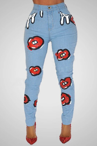 Printed stretch jeans women's high-rise slim-fit jeans CJ910
