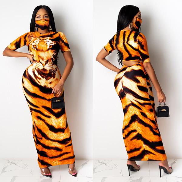 Sexy round neck print long skirt dress with exposed waist nightclub skirt F202