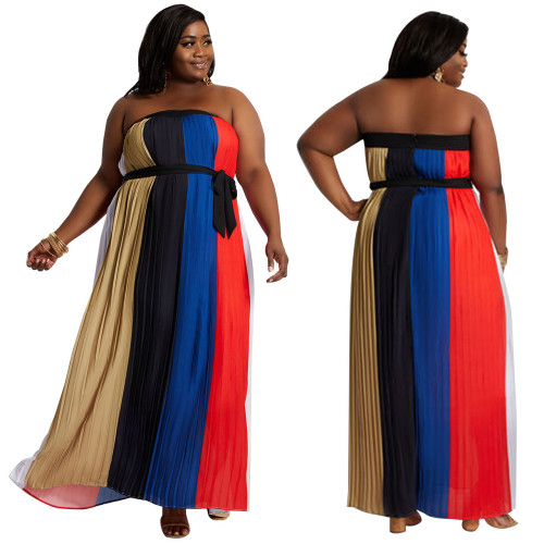 Sexy Plus Size Multicolor Stitching Printed Off Shoulder Long Dress YF1192