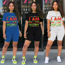 Casual Letter Printed Cotton T-Shirt And Shorts Two Pieces Sets LML126