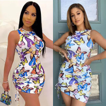 Butterfly print sexy halter neck dress with straps drawstring and face mask CYF3622