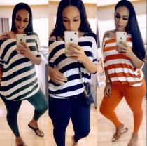 Fashion Striped Printed Round Neck Short Sleeves T-Shirt With Trousers Two Piece Sets CQ021