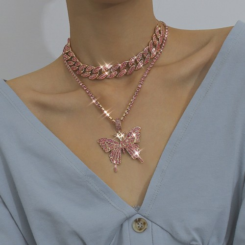 Light Luxury Full Diamond Buckle Simple Niche Necklace DN0412