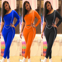 Fashion cute sports and leisure oblique shoulder one-shoulder long-sleeved solid color jumpsuit MR20