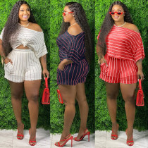 Fashion Striped Printed One Shoulder Mini Top With Shorts Plus Size Two Piece Set XM1131
