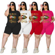 Casual Letter And Lips Printed T-Shirt With Shorts Plus Size Two Piece Set FSL090