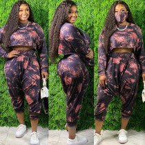Sweater tie-dye printing loose fashion casual two-piece suit plus size women's suit OSS20790