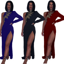 Sexy Embroidery Split Irregular Bodycon Long Dress QZ4096