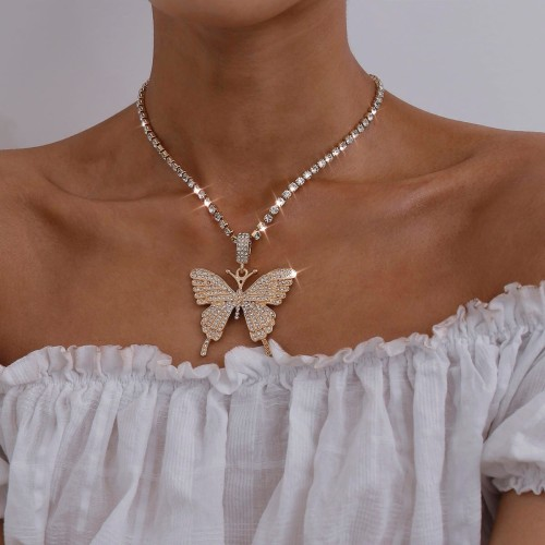 Fashion Flash Diamond Temperament Butterfly Clavicle Necklace DN2914