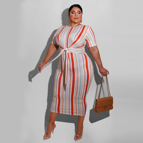 Striped print tie fashion plus size women's dress OSS20780