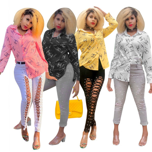 Fashion Printed Button V-Neck Long Sleeves Shirt YSF2192