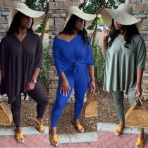 Fashion Solid Color V-Neck Loose Top With Shorts Plus Size Two Piece Set XM1128