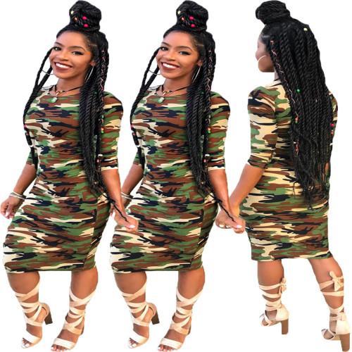 Urban fashion casual camouflage long sleeve dress TH3389