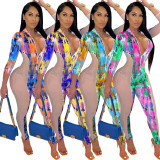 Sexy Mesh Stitching Printed Zipper V-Neck Jumpsuit CCY8563