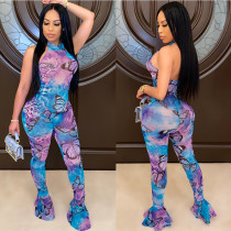 Sexy Butterfly Printed Strapless Backless Round Neck Flared Trousers Jumpsuit KA7101