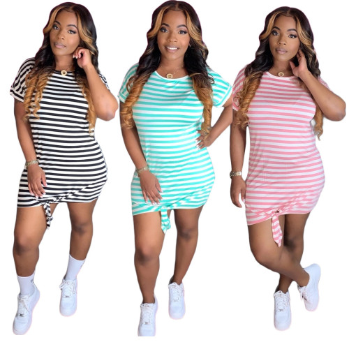 Casual Striped Printed Round Neck Short Sleeves Mini Dress BLX7708