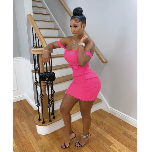 Fashion sexy women's dress with straps and pockets on both sides MDF5150