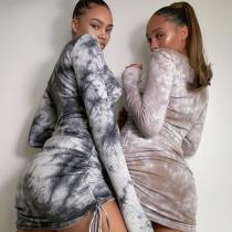 Printed drawstring lace dress BLG072520