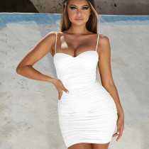 Sexy Solod Color Suspender Backless Pleated Bodycon Mini Dress ZY1345