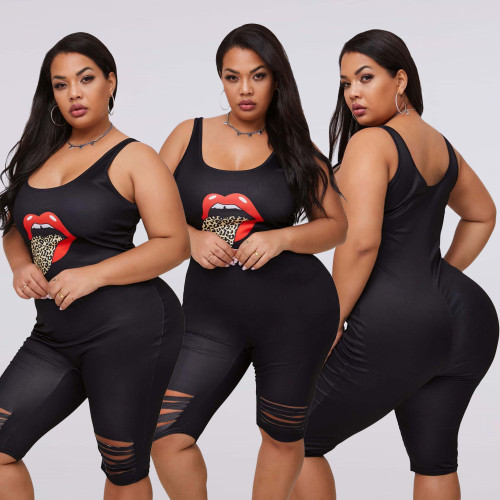 Sexy Lips Printed Suspender Plus Size Hole Jumpsuit LSN759