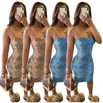 Sexy Leopard Printed Suspenders Backless Bodycon Dress JH174
