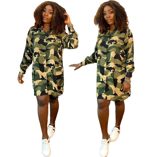 Personalized fashion camouflage button shirt dress GL6288