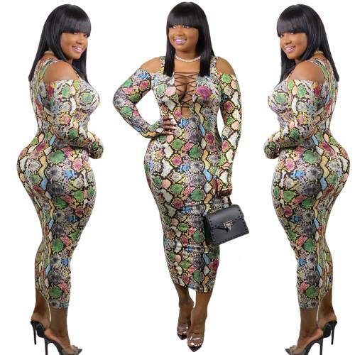 Fashion Printed Round Neck Long Sleeves Bodycon Midi Dress SMR9577