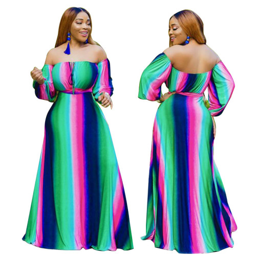 Fashion Plus Size Multicolor Stitching Off Shoulder Loose Long Dress YF1180