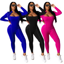 Stitching autumn solid color sexy tight-fitting casual jumpsuit women MY9694