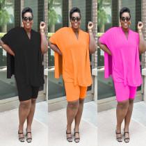 Fashion Casual Solid Color Large Size V-neck Bat Sleeve Split Top Shorts Two Piece Set MR2047