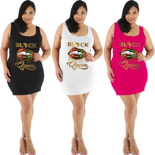 Sexy Letter And Lips Printed Sleeveless Plus Size Mini Dress FSL091