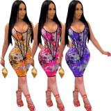 Women's fashion digital printing sports spring and summer suit TH3430