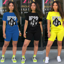 Sports Pattern Printed Cotton T-Shirt With Shorts Two Pieces Sets LML125