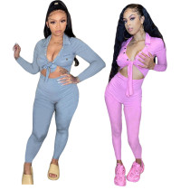Long sleeve new hit color sports and leisure two-piece suit MY9702