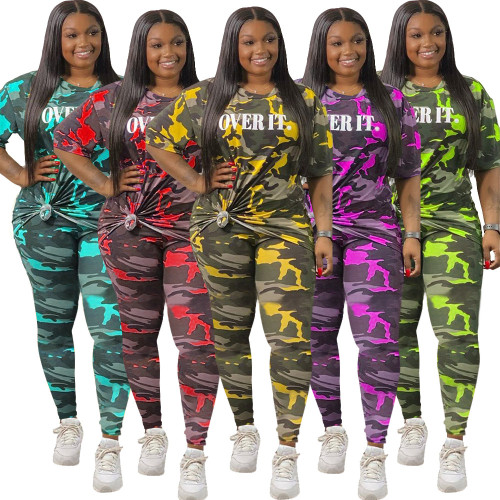 Two-piece camouflage letters for Womens plus size fat ladies AJ4209