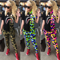 Fashion trend shark mouth camouflage color matching printing two-piece suit MR2055