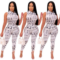 Fashion high collar letter printing two-piece suit ML7356