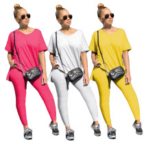 Womens hot sale fashion casual solid color trousers two-piece suit ML7359