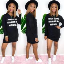 Womens street fashion loose letter dress SH7206