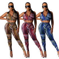 Fashion sexy chain print sleeveless suit ML7347